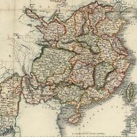 China & Burma Asia 1850 decorative Rapkin antique engraved hand color map
