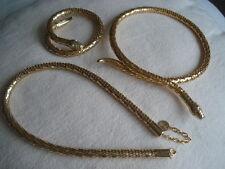 Brand New Snake Design 3 Piece Gold Jewellery Set 2 Necklace & Bracelet