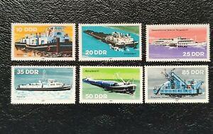 Alemania Oriental año 1981 Barcas Fluviales en la R. D. A  Nº 2306 al 2311