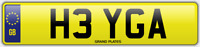 GA INITIALS NUMBER PLATE HEY HI CHERISHED CAR REG H3 YGA NO ADDED FEES TO PAY
