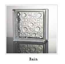 6PCS Glass Brick 190mmx190mmx80mm Rain Clear