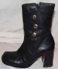 Harley Davidson Black Leather Ankle Boots Womens 6 37 Biker Motorcycle HD