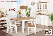 Esstisch Küchentisch Tisch inkl 2x Verlängerung, Pinie massiv weiß, Shabby Chic