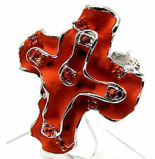 Stretch Ring Cross Red Crystals Art Deco Unique