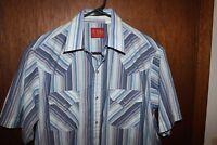 Mens Shirt Plains Western Wear Pearl Snap Button Down StripedShort Sleeve