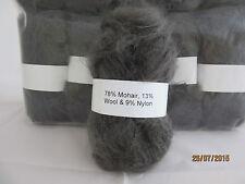 Mohair Wool Yarn 50g Ball Dark Grey 78 Mohair Double Knitting (2nm)