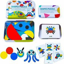 Wooden Pattern Blocks Animals Jigsaw Puzzle Sorting and Stacking Games