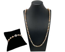 Handmade Freshwater Pearl Necklace & Matching Bracelet Finished Multicolor Pearl