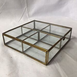 Small Table Top Collectors Glass Display Case Brass Colour Metal Bound 4 Section