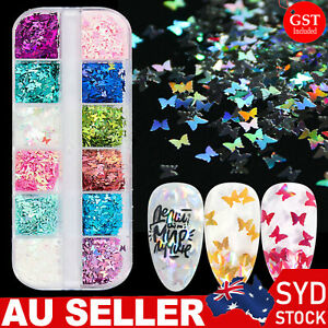 12 Grids Butterfly Shape Nail Flakes 3D Holo Laser Glitter Sequin Nail Art Decor
