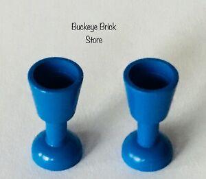 Lego Lot 2 BLUE GOBLET Friends Kitchen Table Cup Glass - Potter Castle 4768 6067