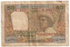 BANQUE DE MADAGASCAR ET DES COMORES RED OVERPRINT COMORES 50 FRANCS ND(1963) F