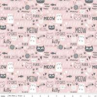 cats pink gray  cute kittens  fabric 100% cotton RIley Blake Purrfect day fabric