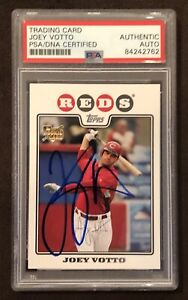 Joey votto Signed 2008 topps  rookie card Cincinnati Reds All Star Autograph PSA