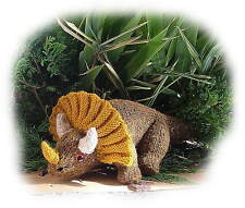 TONY TRIPLEHORN Triceratops (dinosaur toy knitting pattern) by Georgina Manvell