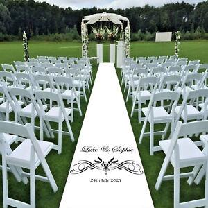 Dated & Named Personalised Wedding Aisle Runner, Border Option 10ft - 30ft