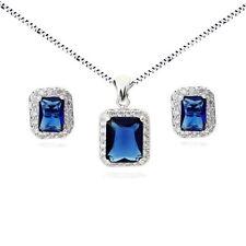 18K WHITE GOLD PLATED GENUINE SAPPHIRE BLUE CUBIC ZIRCONIA JEWELLERY SET