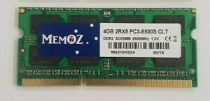 4GB DDR3 1066 1067 Mhz Laptop RAM PC3 8500S Notebook Sodimm 1.5V Memory 5YrsWty