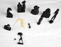"""10 Vintage Hand Carved Ebony Wood Figures Small Miniature 3"""" - 4"""""""