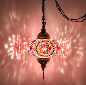 8 Colors - SWAG PLUG IN Turkish Moroccan Mosaic Hanging Ceiling Lamp