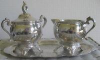 EUC Vintage 1970s Gorham Silverplate Creamer & Sugar Bowl Alvin Pattern 4 Pc Set