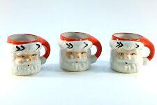 Vintage Set of Three Novelty Santa Claus Christmas Holiday mugs . Hand painted