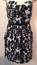 Women's BCX Strapless Mini Dress Size 1 Black White Floral Short Prom Dress LHM
