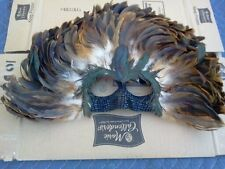 EYE MASK REAL  LEATHER AND FEATHER