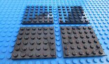 Lego 6x6 Black Base Plates City Town Castle Star Wars Kingdoms Baseplates QTY4