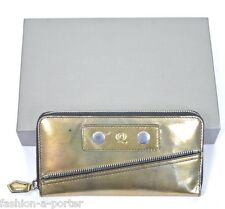 ALEXANDER McQUEEN GOLD LEATHER FAITHFUL LOGO CONTINENTAL ZIP WALLET PURSE BNWT