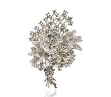 Bouquet of Flowers Wedding Bridal Prom Silver Rhinestones Brooch Pin BR359