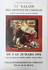 Belle Affiche JACQUES POIRIER Cartes À Jouer Trompe-l'oeil 1994 Artistes Chesnay