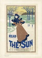 """""""READ THE SUN"""" Litho Maîtres de l'Affiche entoilée Pl. 200 Louis J. RHEAD 1895"""