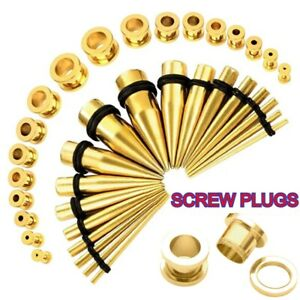 Ear gauging stretching kit 36 pieces Stainless Steel 36 pieces tapers/plugs kit