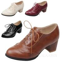 Womens Formal Shoes Ladies Vintage Pumps Leather Like Brogues Lace Up Flat kala