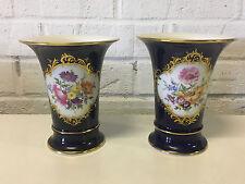 Vintage Antique German Meissen Porcelain Pair of Cobalt & Gold Vases w Flowers