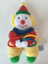 """Vintage Eden Clown Baby Plush Rings Primary Colors 9"""""""