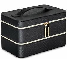 Lancome Two Level Organizer Train Case Makeup Box Black Synthetic Leather Gift