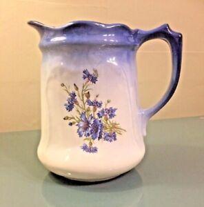 Ornamental Handled Jug with Blue Cornflowers Nice Only £17.99 Free P&P Uk