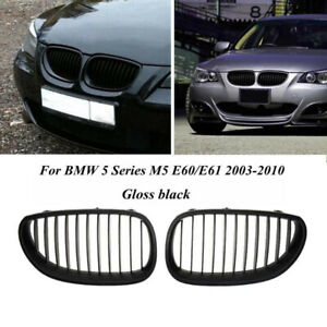 Gloss Black Front Kidney Grill Grille For BMW E60 E61 5 Series 2003-2010 Pair