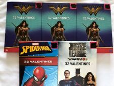 New Wonder Woman Justice League Spider Man Valentines Cards Lot Of 5