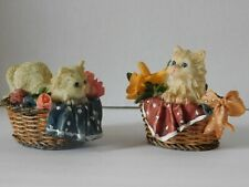 New ListingKitty Cats in Baskets Two Figurines Decoration