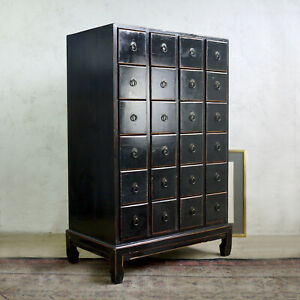 Vintage Chinese Oriental Black Bank Of 24 Drawers Chest Storage Apothecary