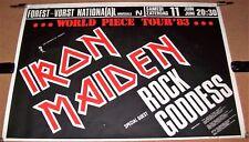 IRON MAIDEN ROCK GODDESS CONCERT POSTER SAT 11th JUNE 1983 FOREST VORST BELGIUM