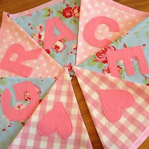 Personalised Bunting Girls Birthday Cath Kidston Ikea Rosali Blue Name Banner
