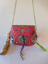 New Sam Edelman Thana ll Mosaic Tile Metal w/ Beaded Tassel Crossbody Bag Clutch