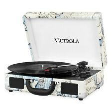 Victrola Portable Suitcase Bluetooth 3-Speed Turntable Record Player - Map Print