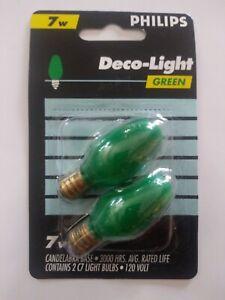 Philips BC7C7/G 120V C7 Night Light 7 Watt Candelabra Base Bulb Green (2-Pack)