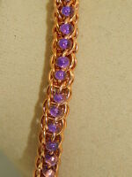 Hand-made Chain Maille Solid Bronze & Magatama Glass Bracelet