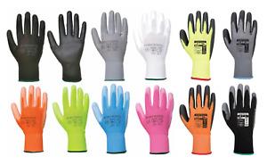 12 x Portwest A120 Colourful Nylon PU Palm Coated Work Wear Gardening Gloves